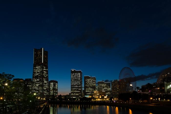 みなとみらいの夜景、万国橋より(カラーコーディネーション 撮影)