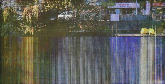 湯浅 克俊《Quadrichromie》水性木版(4版4色)、和紙 91.0×180.0cm 作家蔵