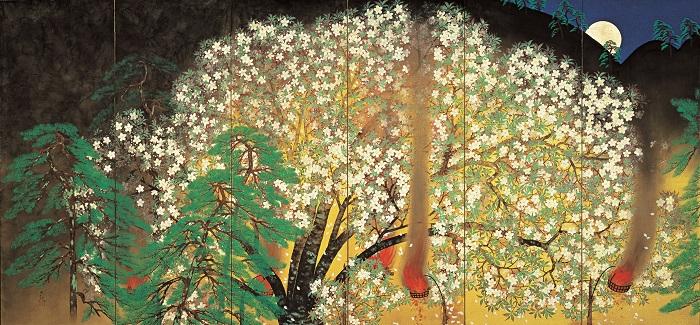 横山大観《夜桜》(左隻) 1929(昭和4)年 大倉集古館蔵(展示期間:11月1日~24日)