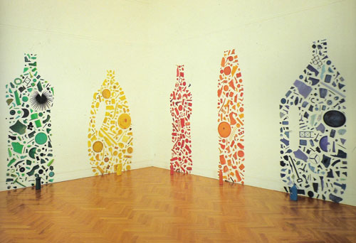 "Tony Crag, ""Green, Yellow, Red, Orange, and Blue Bottles II"" (1982)"