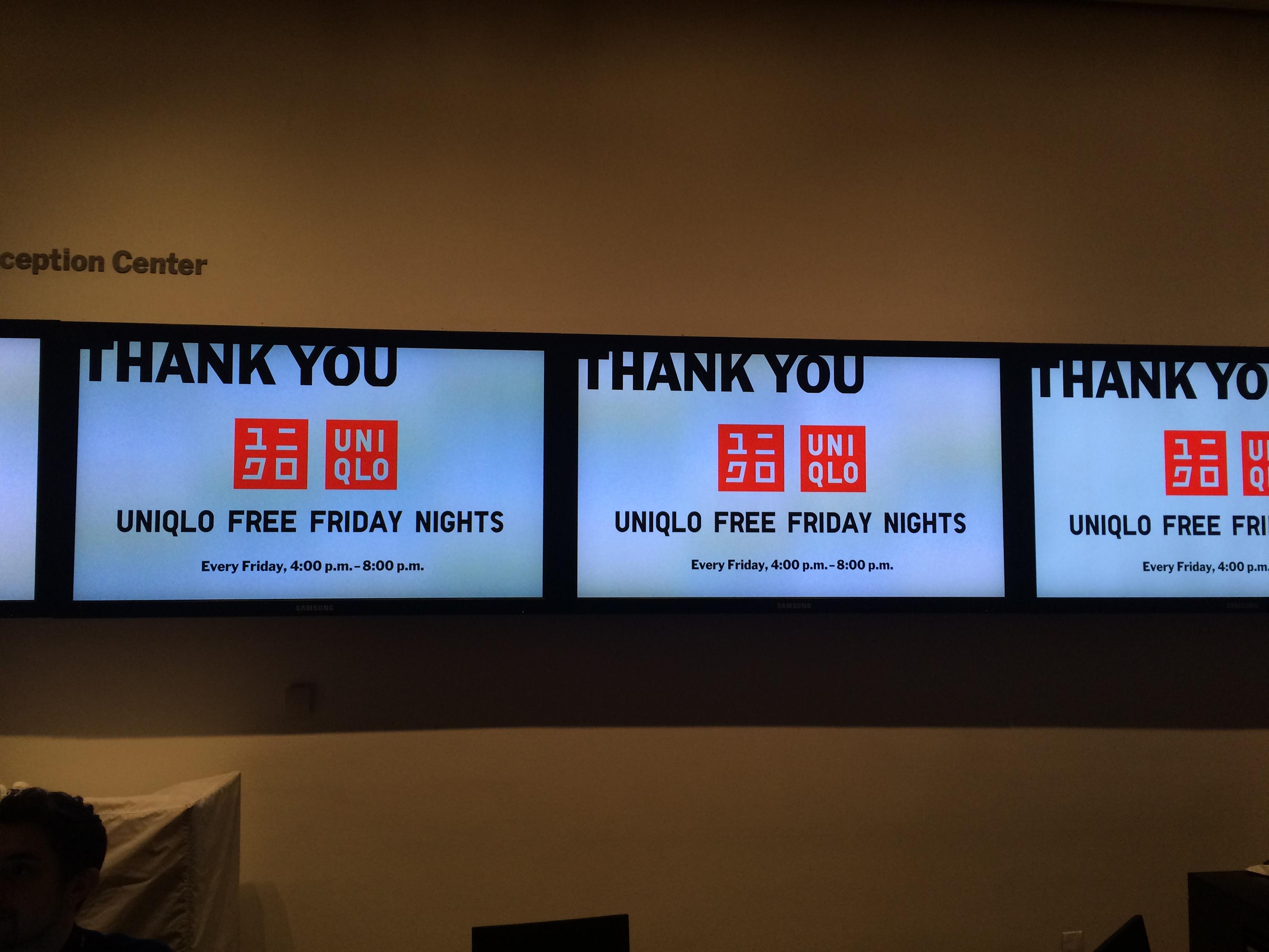 ニューヨーク近代美術館の毎週金曜日の無料入館と夜間開館はユニクロが資金サポート。(筆者撮影)