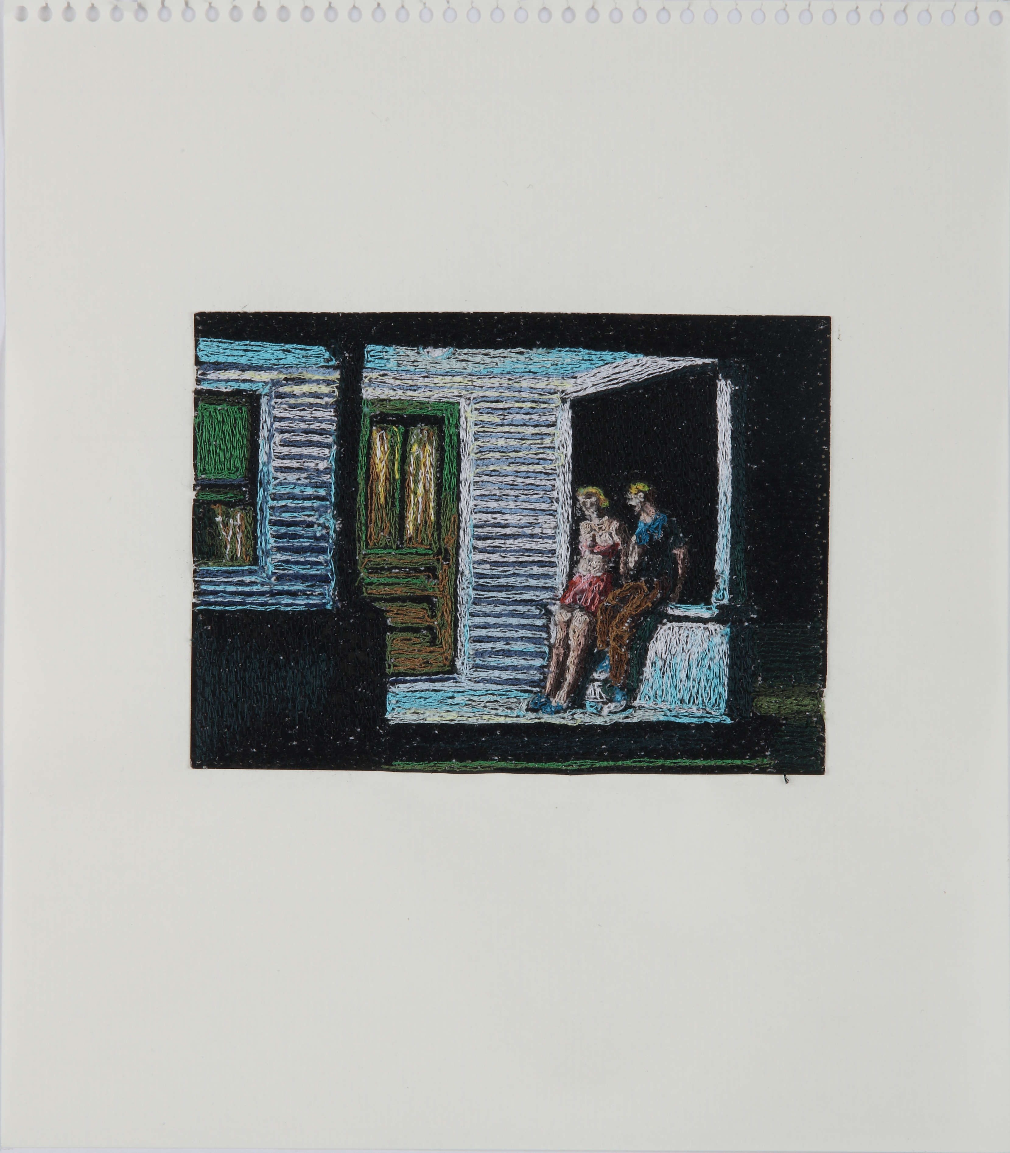 青山悟「About Painting / エドワード・ホッパー」2014-2015、紙にポリエステル糸で刺繍、©AOYAMA SATORU courtesy of Mizuma Art Gallery, Tokyo