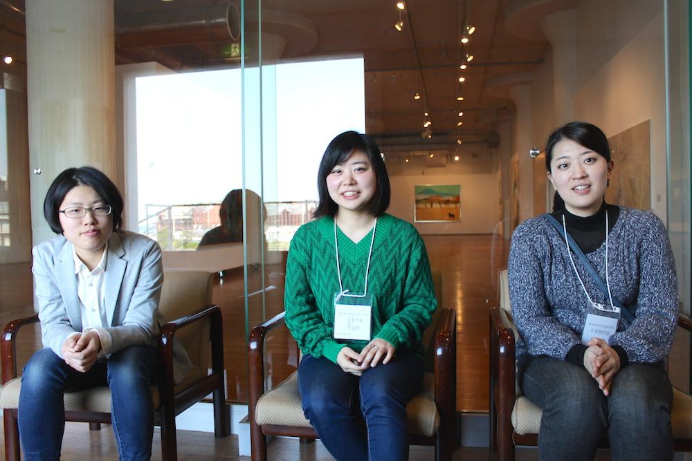 お話を伺った卒展代表・副代表チームの室岡侑奈さん、大久保迪子さん、大庭千里さん